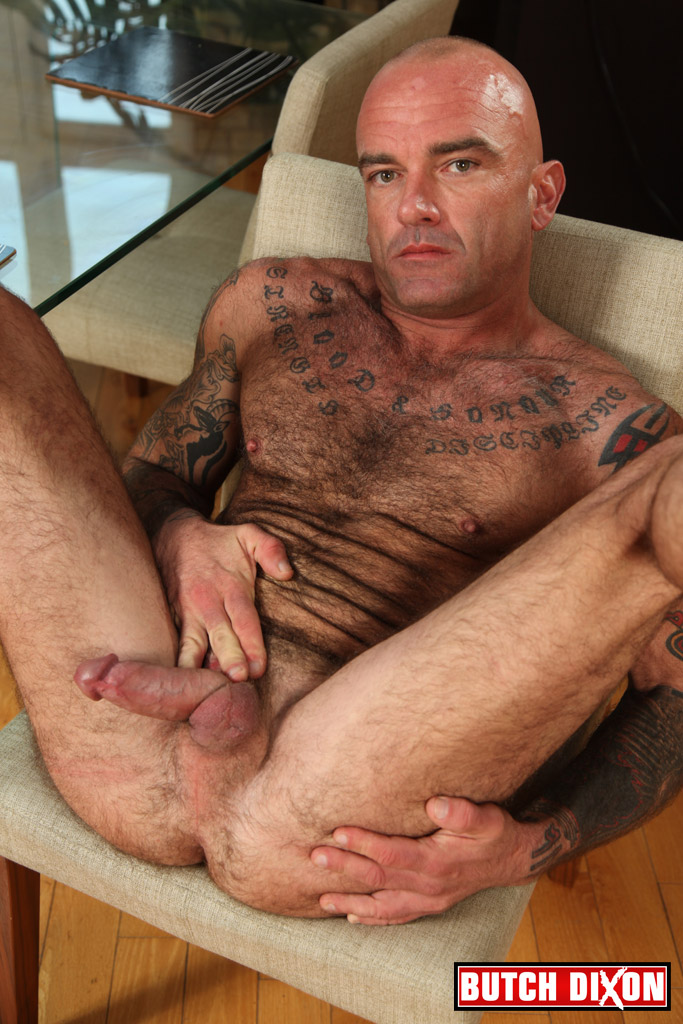 Butch-Dixon-Seth-Wilkins-Hairy-Muscle-Daddy-IMG_8297 Hot Hairy Muscled Daddy Jacks His Thick Uncut Cock