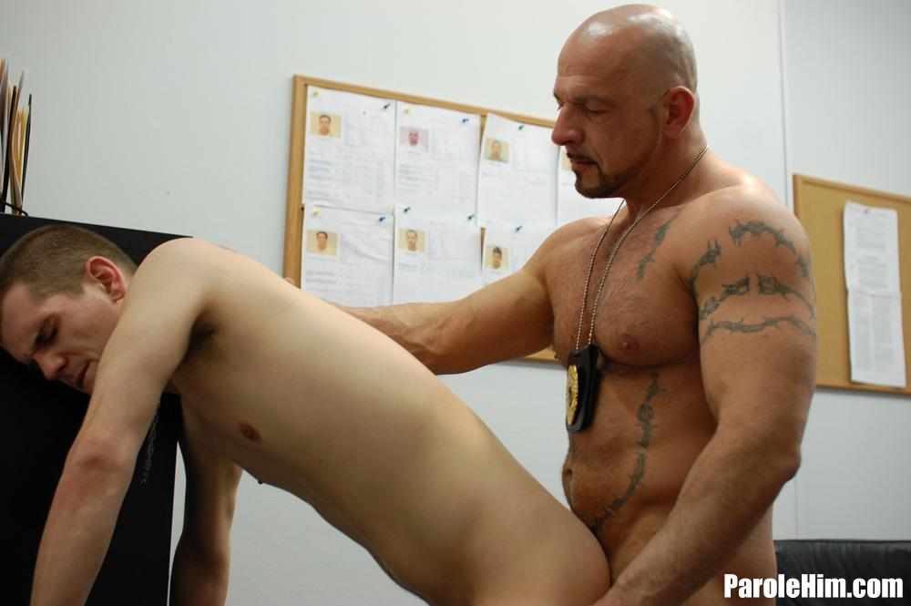 Parole Him Officer Thompson fucks Anthony Mose bareback uncut amateur cock 01 A Hot Muscle Daddy Parole Officer Barebacks the Probationer