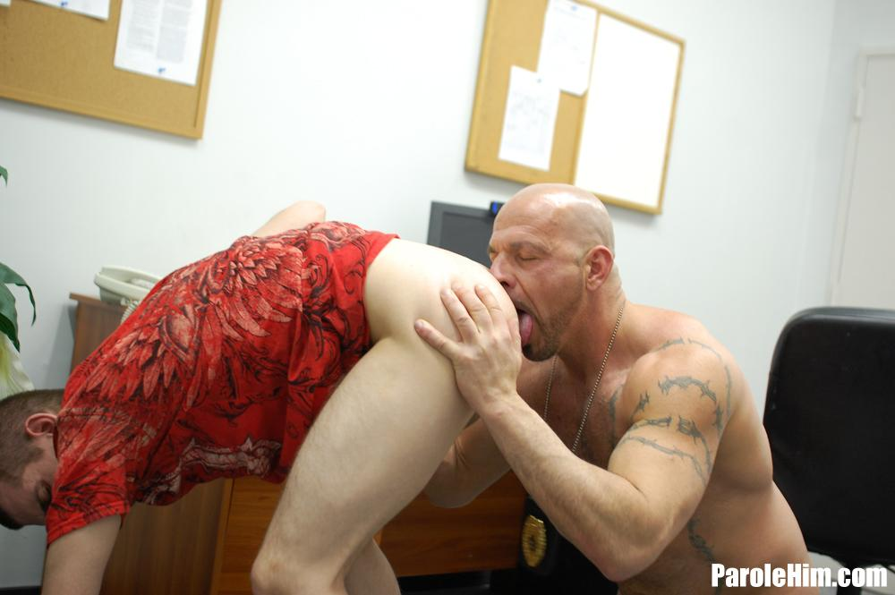 Parole Him Officer Thompson fucks Anthony Mose bareback uncut amateur cock 08 A Hot Muscle Daddy Parole Officer Barebacks the Probationer