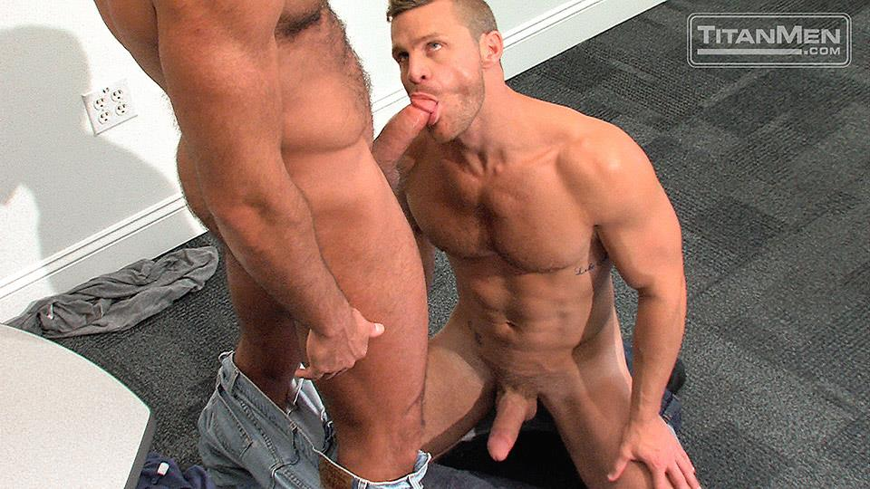TitanMen-Pounded-Jesse-Jackman-and-Landon-Conrad-Hairy-Muscle-Daddy-Gets-Fucked-In-The-Ass-Amateur-Gay-Porn-10 Blue Collar Hairy Muscle Daddy Opens Up His Ass For His Co-Worker