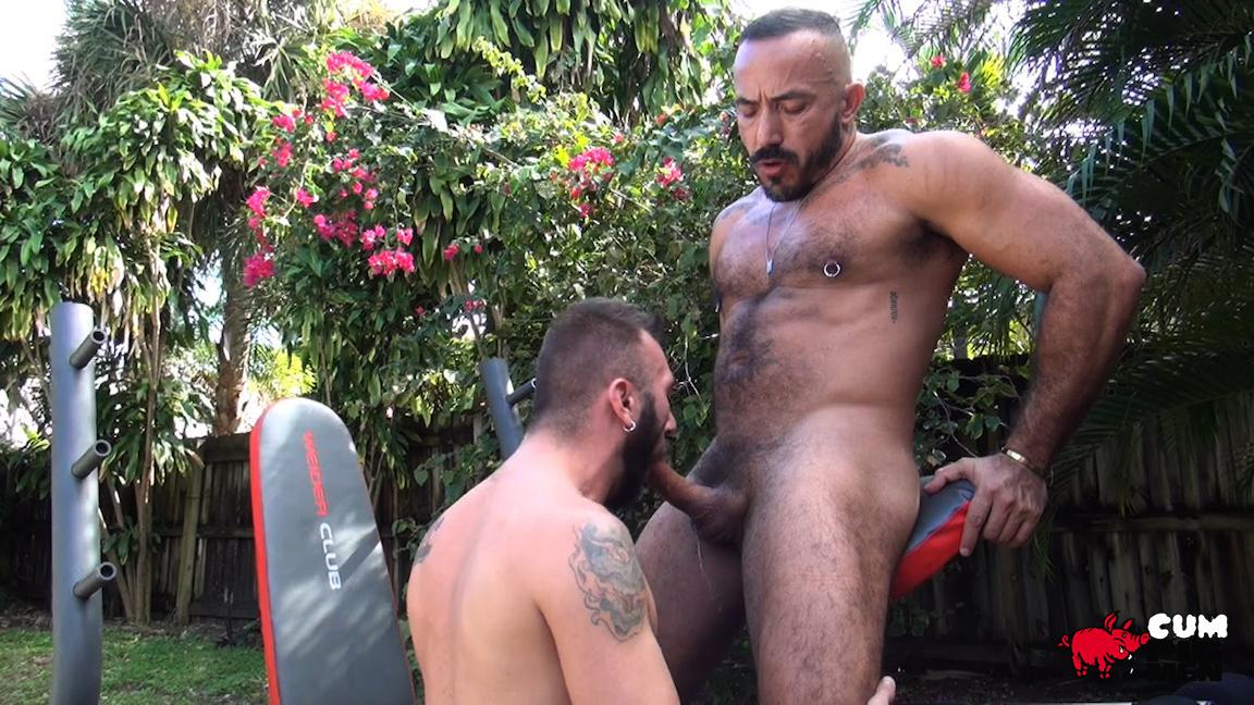 Cum-Pig-Men-Alessio-Romero-and-Ethan-Palmer-Hairy-Muscle-Latino-Daddy-Cocksucking-Amateur-Gay-Porn-06 Hairy Latino Muscle Daddy Gets A Load Sucked Out And Eaten
