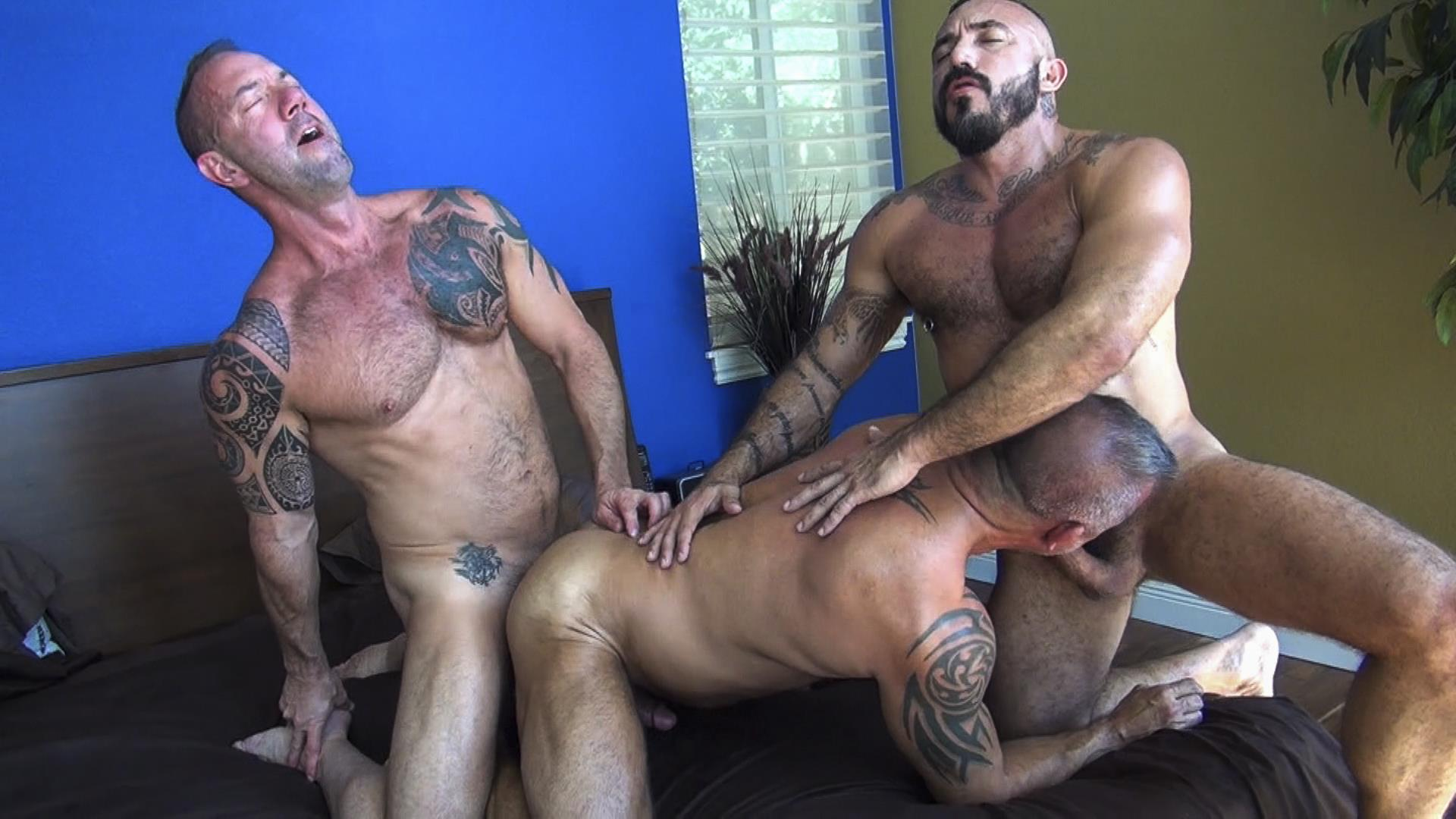 Raw Fuck Club Alessio Romero and Jon Galt and Vic Rocco Hairy Muscle Daddy Bareback Amateur Gay Porn 3 Hairy Muscle Daddy Threeway Double Bareback Penetration