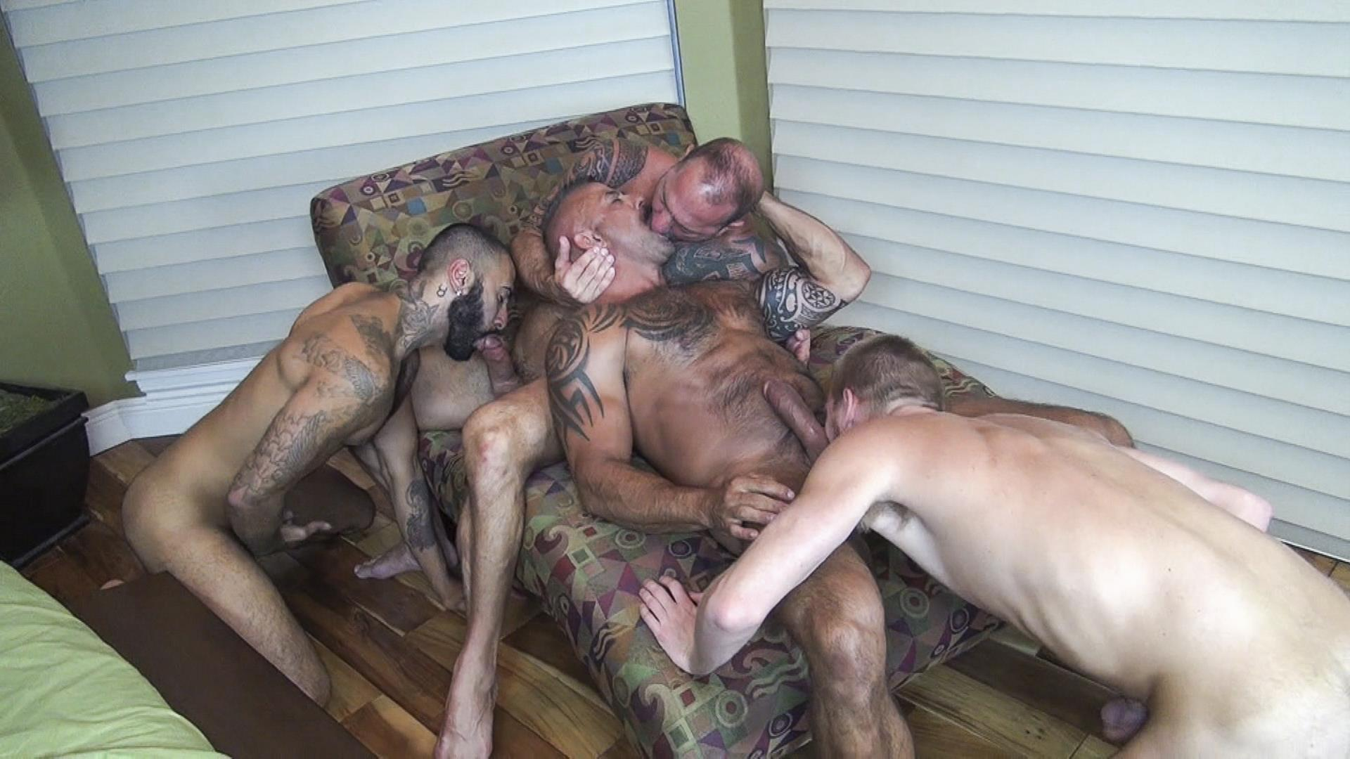 Raw-Fuck-Club-Vic-Rocco-and-Rikk-York-and-Billy-Warren-and-Job-Galt-Bareback-Daddy-Amateur-Gay-Porn-08 Four Hairy Muscle Daddies In A Bareback Fuck Fest Orgy