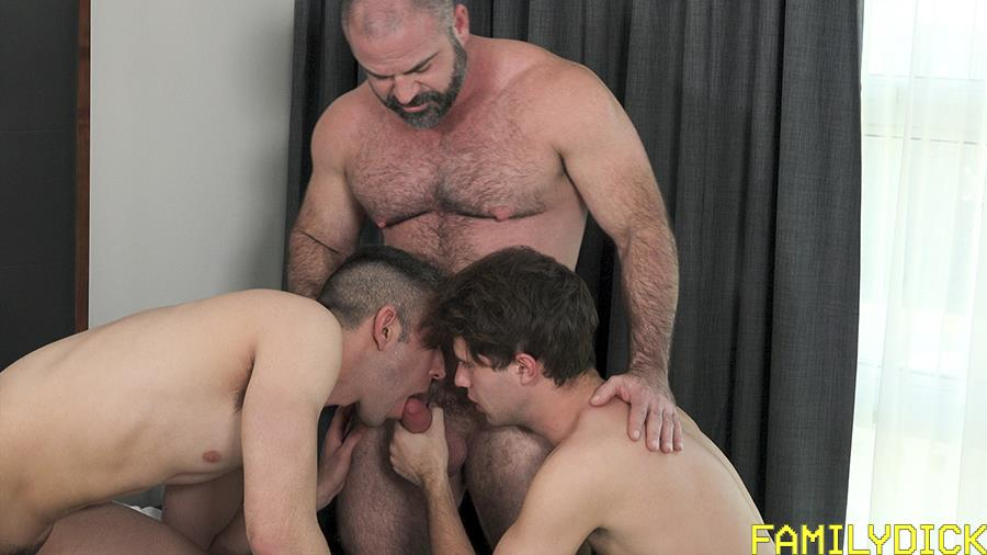 Family-Dick-Muscle-Bear-Stepdad-Bareback-Fucks-His-Stepsons-Gay-Sex-Video-04 Hairy Muscle Bear Daddy Takes Turns Bareback Fucking His Two Stepsons